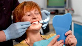 Woman in dentist chair